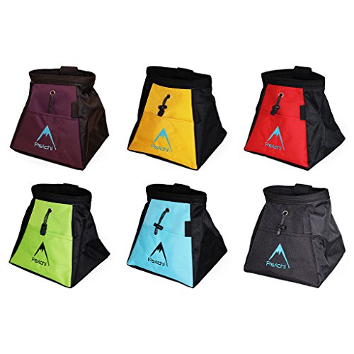 Psychi Chalk Bouldering Bucket Stand Bag for Rock Climbing with Front and Rear Zip Storage