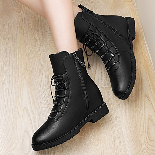 KHSKX-With Increased In Spring And Autumn Winter Cotton Shoes Head Tie Shoes Single Shoes Slope With Deep High-Heeled Shoes Black dvsVY