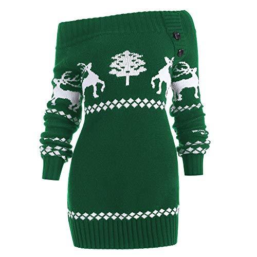 URIBAKE  Women's Sweater Christmas Off Shoulder Tree Elk Woven Knitted Botton Sweater