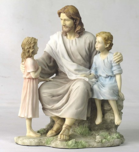 8.25 Inch Jesus with Little Boy and Girl Statue Figurine, Pastel Color