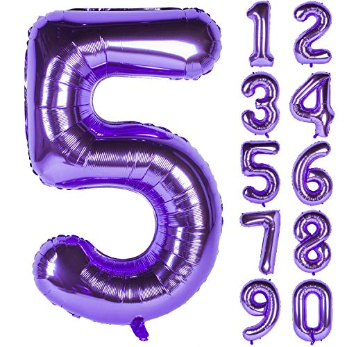 New 40 Inch Purple Digit Helium Foil Birthday Party Balloons Number -