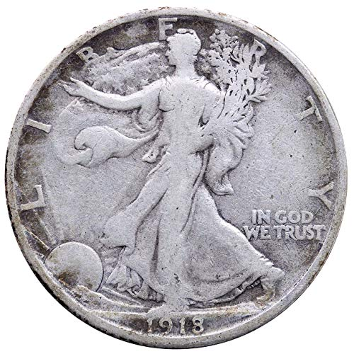1918 S Walking Liberty Half Dollar 50c Average Circulated (Silver Dollar 1918 Half)