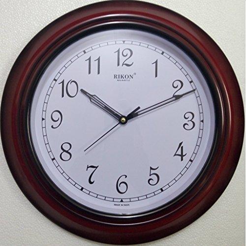 Rikon Quartz Plastic Round Shape 33 cm X 33 cm Fancy Premium Home Decor Wall Clock (Red White)
