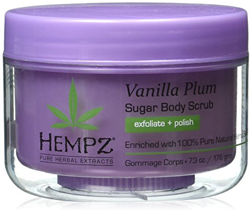 Hempz Herbal Sugar Body Scrub, Light Purple, Vanilla Plum, 7.3 Fluid Ounce