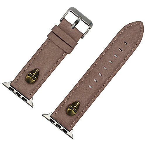 Price comparison product image BYIA 38mm 42mm Replacement Watchband,  Men's Punk Rock Collection Heavy Duty Skull Leather Strap for Apple Watch (Light brown,  38 mm)