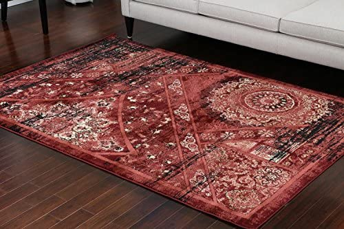 Feraghan Dusty red Salmon Traditional Antique Isfahan Wool Persian Area Rugs Rug 7'10 x 10'5