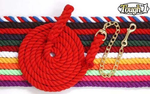Tough 1 Braided Cotton Lead with Chain, Royal Blue, 8 1/2'