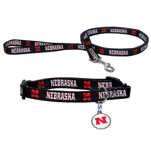 Hunter University of Nebraska Pet Combo Set (Collar, Lead, ID Tag), Small