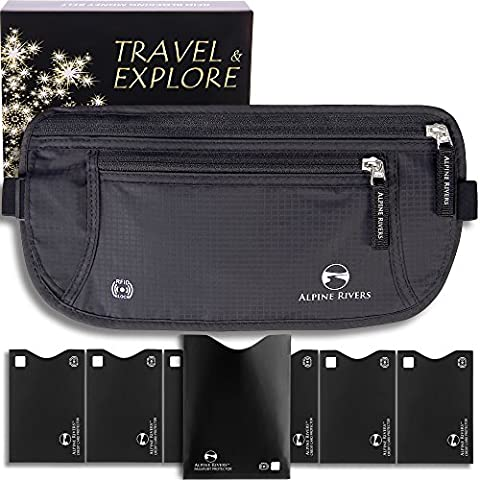 Money Belt - RFID Blocking Wallet Perfect for Travel & Outdoors +7 Bonus Sleeves