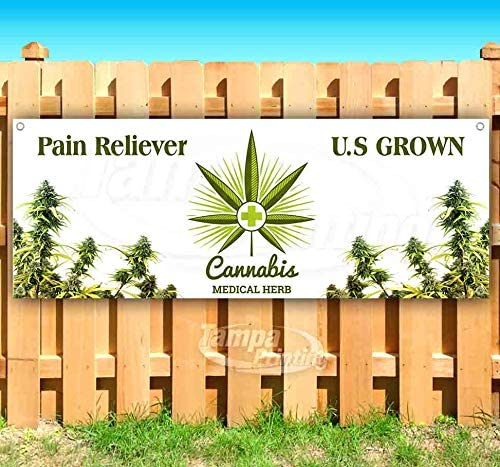 New Store Cannabis U.S Grown 13 oz Heavy Duty Vinyl Banner Sign with Metal Grommets Advertising Flag, Many Sizes Available