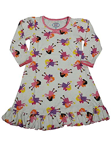 Sara's Prints - Little Girls Puffed Long Sleeve Fairies Nightgown, White 37961-2