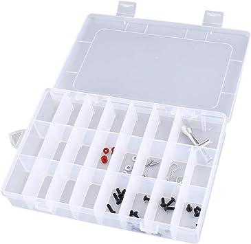 Caja de herramientas portátil con 24 compartimentos para joyas, de plástico, transparente, transparente: Amazon.es: Bricolaje y herramientas