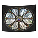 Breezat Tapestry Blue Church Circle Shape Stained Glass Window in Hungary Colorful Catholic Home Decor Wall Hanging for Living Room Bedroom Dorm 60x80 Inches