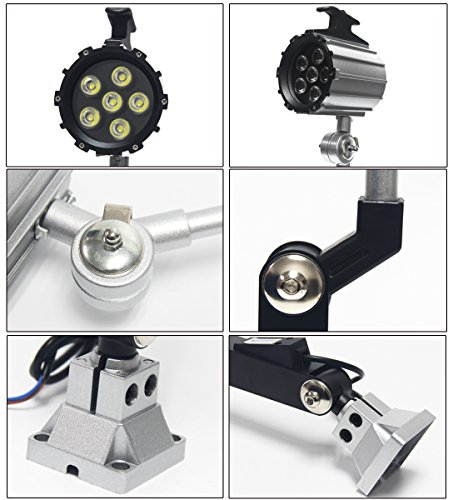 Wisamic LED Work Light for Lathe, CNC Milling Machine, Drilling Machine, Aluminum Alloy, 12W 110V-220V, Adjustable Multipurpose Worklight, Long Arm by WISAMIC (Image #2)