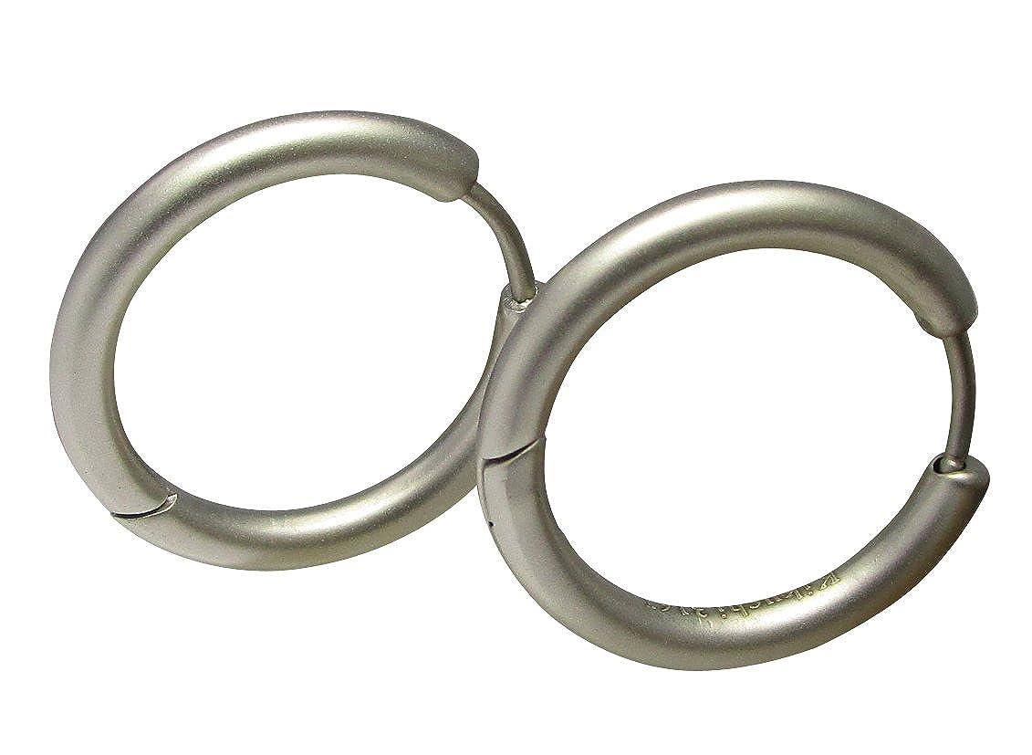 Kikuchi Herren Damen Unisex Ohrringe Titan St/äbchen Edelstahl Creolen Hoop Huggies Silber Matt Slim Tube 20mm/Ø ERTS013
