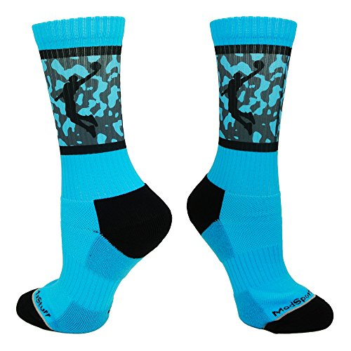 Basketball Player Crew Socks (Electric Blue/Black, Large)