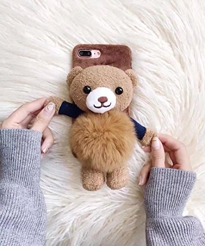 Losin Bear Case Compatible with Apple iPhone 7 Plus / iPhone 8 Plus 5.5 Inch Fashion Luxury Lovely Cute Fuzzy Furry Winter Rabbit Hair Warm Plushball 3D Bear Toy Doll Hard PC Back case