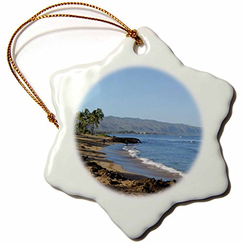 3dRose orn_107126_1 Relax at The Beach in Kailua Kona, Hawaii-Snowflake Ornament, 3-Inch, Porcelain by 3dRose
