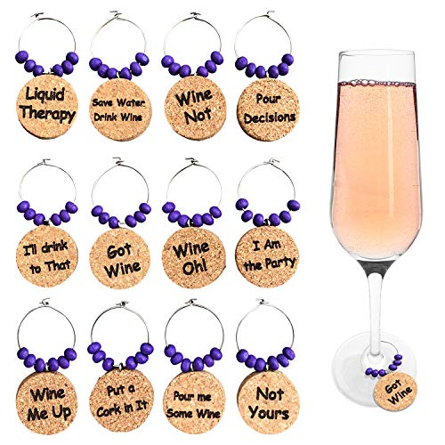 Natural Cork Wine Charms/Wine Glass Markers with Humorous Phrases. Witty Wine Charms, Set of 12 Drink Charms Made of Cork with Wood Beads by Cork & Leaf. (Wine Theme Gifts)
