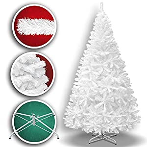 BenefitUSA 7.5' White Classic Pine Artificial Realistic Natural Branches-Unlit 230CM 1200 Tips with Metal Stand Christmas Tree 14