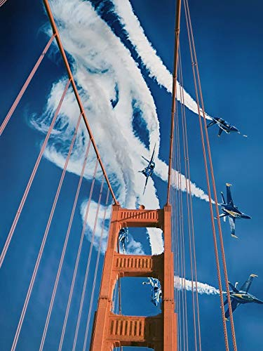 Home Comforts Canvas Print San Francisco Sky Blue Angels Bridge Air Show Jets Vivid Imagery Stretched Canvas 10 x 14