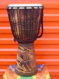 20'' X 10-11'' Deep Carved Djembe Bongo Drum Elephants with Free Cover, Model # 50M8