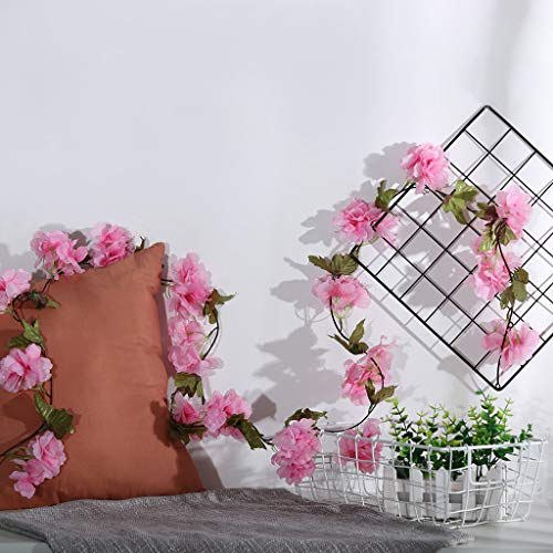 Gotian 1 PC Artificial Cherry Blossom Rattan Green Leaf Vine Silk Flowers Garland Home Decor for Wedding Party (Pink)
