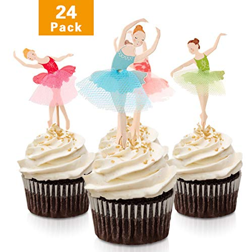 FishMM 24pcs Fairy Ballet Girls Party Fun Cup Cake Decorative Toppers Cupcake Decorating Tools for Party]()