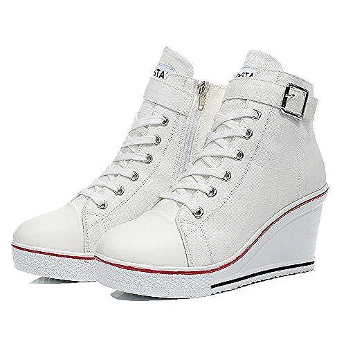40f773ce204 Outlet Wealsex Mujer Cuñas Zapatos de Lona High-Top Zapatos Casuales Encaje  Hebilla Talla Grande