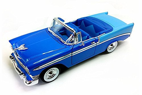 1956 Chevrolet Bel Air Convertible, Blue with Light Blue Trunk - Road Signature 92128 - 1/18 Scale Diecast Model Toy (Signature Diecast Cars)