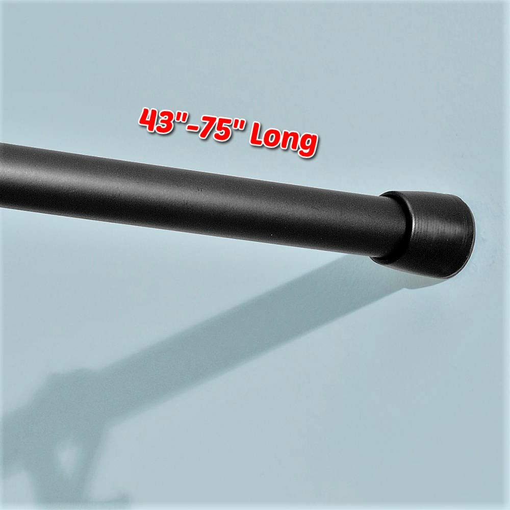 "RV Expandable Shower Curtain Rod 43''-75"" Long Twist to Extend Strong Durable Non Slip Foots Perfect for RV and Home, Modern Tools and Accessories (Matte Black) & Free Ebook by Stock4All"