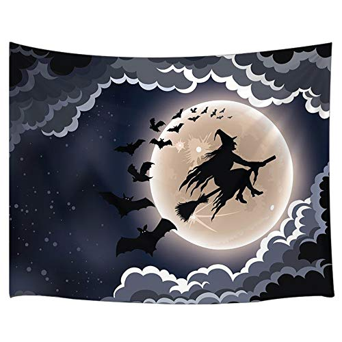 JAWO Halloween Tapestry, Witch and Bat Flying in Dark Night Full Moon Large Tapestry Wall Hanging for Bedroom College Dorm TV Backdrop Wallpaper Home Decor 71X60 Inches -