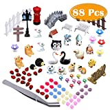 PAXCOO 87 Pcs Miniature Ornaments Kit Set with 1 Pcs Tweezer for DIY Fairy Garden Dollhouse Decor