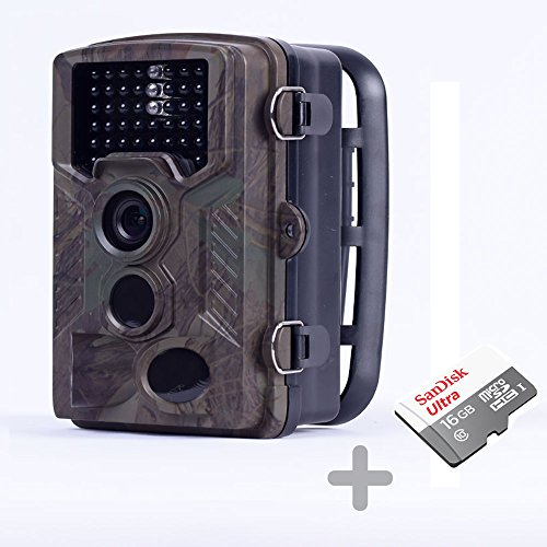 HOMESTEC Hunting Trail Game Camera - With 16G Card Infrared Scouting Cameras 12MP 1080P Detection Range 80ft Night Vision 65ft IP56 Waterproof