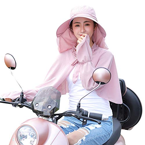 Sunscreen Long Sleeve Sunhat, Women Lace Face Neck UV Protection Cover-ups Set Shawl(Pink) ()
