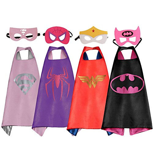 4-Pack Cape & Mask Costume Set, Soft Satin Superhero Dress Up Costume for Girls