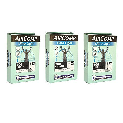 Michelin Aircomp A1 Ultralight 700 x 18-23c Presta 52mm Valve (Pack of 3 Tubes)