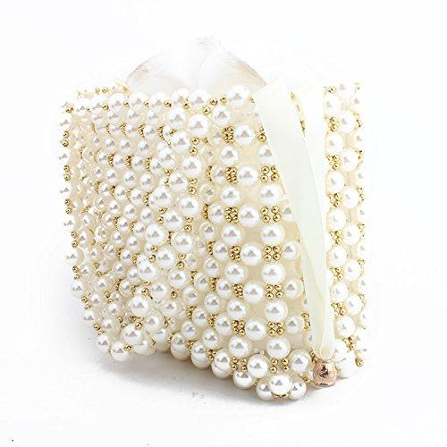 main de sac à sac Perle banquet perlé dames White pochette fait soirée de main clubs sac les sac de pour partie mariage wSqqxfI