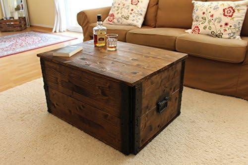 Winkelen Voor Uncle Joe Notitiekast houten kist, 80 x 55 x 44 cm, hout, donkerbruin, vintage, shabby chic salontafel, bruin, 80 x 55 x 44 cm  OY8U0WH