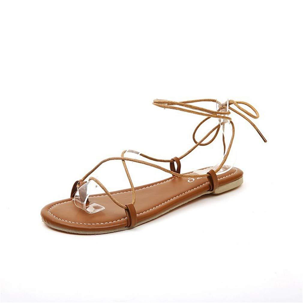 YUCH Bottes Chaussures Femme Bandages YUCH Plats Toe Shoes Chaussures Plats De Plage Brown 768d707 - automaticcouplings.space