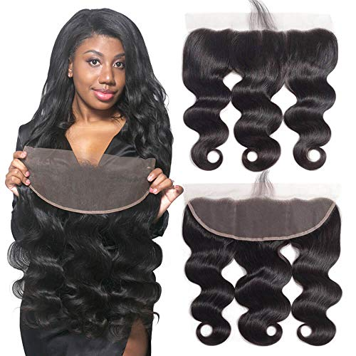 Best Ear To Ear 13x4 Full Lace Frontal Only Body Wave With Baby Hair Unprocessed Brazilian Virgin Cheap Remy Real Human Hair 4x13 Top Front Closure Pre Plucked Natural Black Color One Piece 10 inches (Best Bundles On Aliexpress 2019)