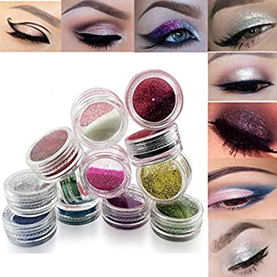 Lookathot Eye Nail Phone Loose Glitter Powder -12 Pcs Mixed Colors Shimmer Mineral Eye Shadow Dust Powder Makeup Party Cosmetic Set