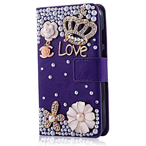 Rosepark(TM) Moto G leather case, 3D Handmade Bling Crystal Crown Rhinestone Flower Pearl Diamond Design Sparkle Glitter Leather Wallet Type Magnet Flip Case Cover for Moto G(Purple), With Screen Protector, Stylus Pen and Cleaning Cloth
