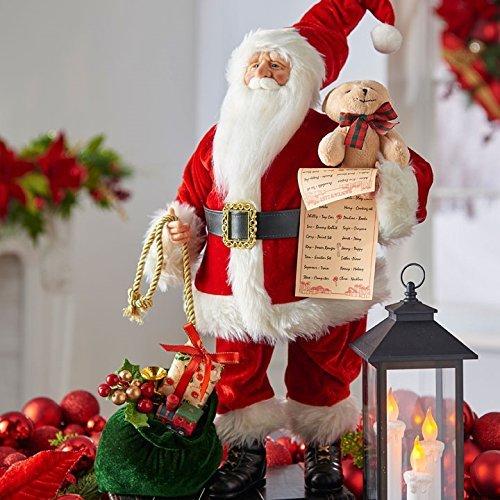 RAZ Imports 18'' Santa With Bear and List
