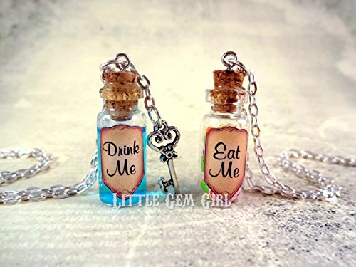 Drink Me Eat Me Alice in Wonderland Necklace Set Real Liquid & Sweet Candy Treats - Shimmer Blue Shrinking Magic Potion Mini Charm - Fairy Tale Halloween (Alice In Wonderland Eat Me Drink Me Costume)