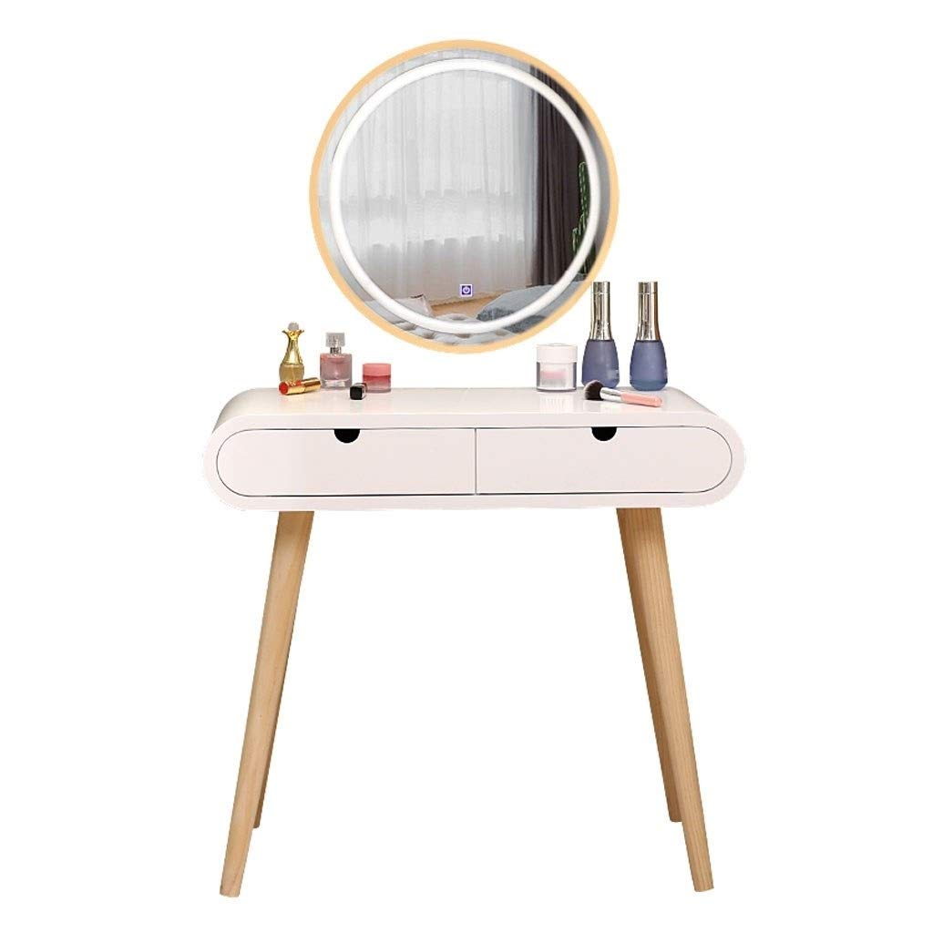 WM Home Schminktisch mit beleuchtetem LED-Touchscreen, der runde Spiegel-Make-up-Frisierkommode verdunkelt, die Schubladen for Dame Girl Bedroom schiebt (Größe : 800MM)