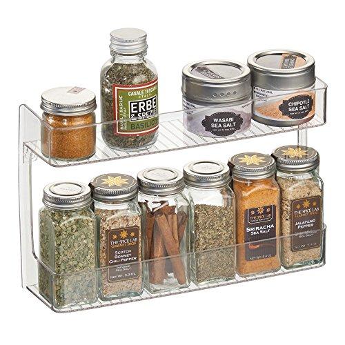 mDesign Wall Mount Kitchen Spice Organizer Rack for Herbs, Salt, Pepper, Cinnamon, Ginger, Garlic - 2-Tier, (Cinnamon Wall Mount Cabinet)