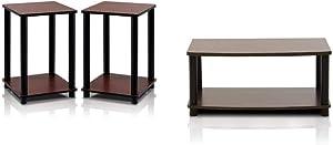Furinno Turn-N-Tube End Table Corner Shelves, Set of 2, Dark Cherry/Black & Turn-N-Tube No Tools 2-Tier Elevated TV Stand, Dark Brown/Black
