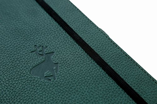 Dingbats Wildlife Medium A5+ (6.3 x 8.5) Hardcover Notebook - PU Leather, Perforated 100gsm Cream Pages, Pocket, Elastic Closure, Pen Holder, Bookmark (Lined, Green Deer)