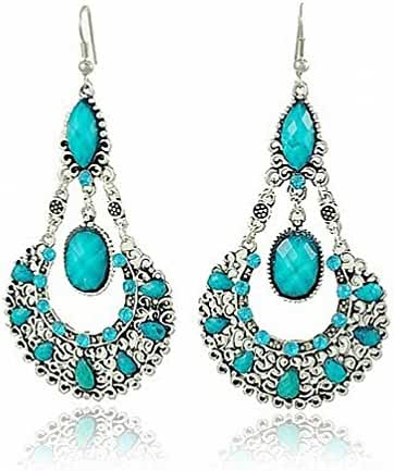 megko Classy Charm Blue Rhinestone Ethnic Earrings Antique Vintage Victorian Tear Drop Earing